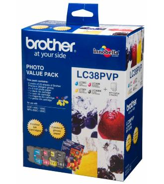 Brother LC38PVP Photo Value Pack - Black, Cyan, Magenta & Yellow + 20 Sheets of 4x6 Photo Paper!