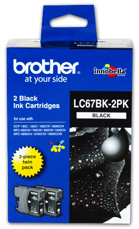 Brother LC67BK Black Ink Cartridge - Twin Pack