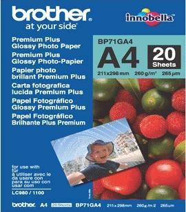 Brother BP71GA4 Glossy Premium A4 260gsm Photo Paper - 20 Sheets