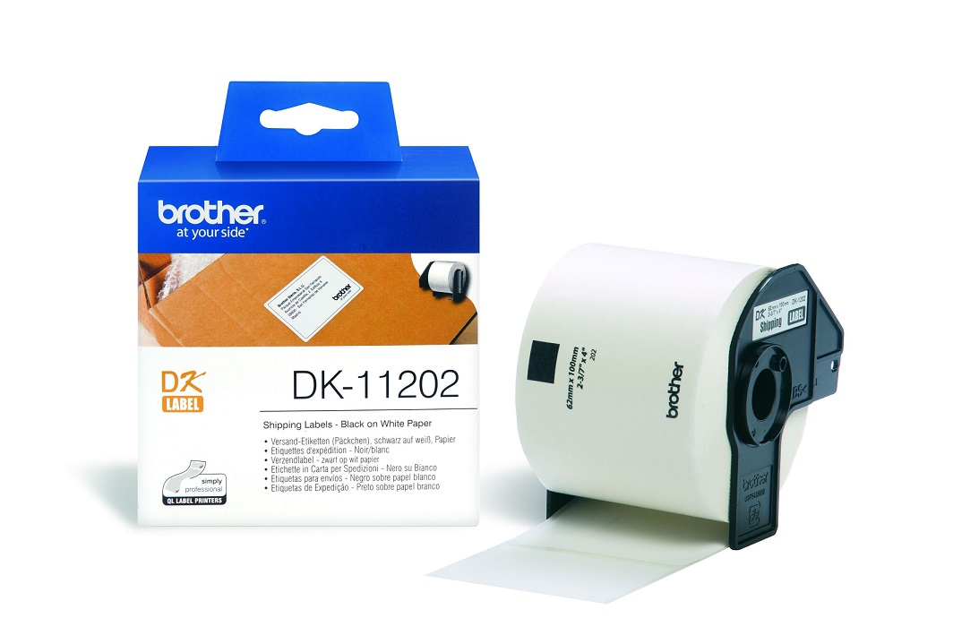 Brother P-Touch DK11202 62mm X 100mm Black on White Shipping Labels