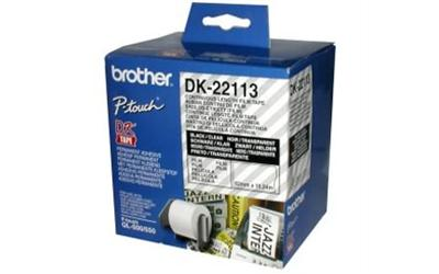 Brother DK22113 62mm x 15m Black on Clear Continuous Label Roll Tape