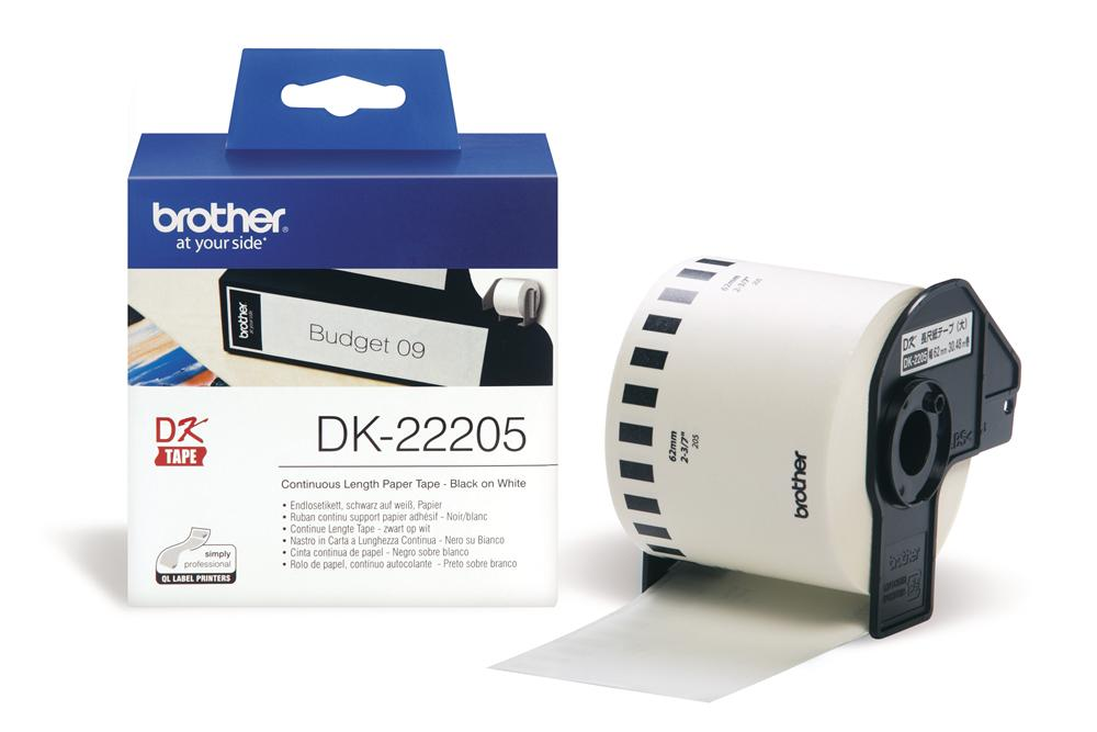 Brother DK22205 62mm X 30m Black on White Continuous Label Roll Tape