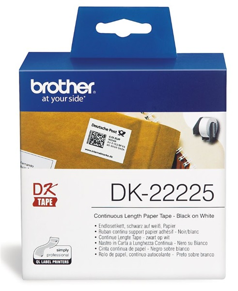 Brother DK22225 38mm x 30m Black on White Continuous Paper Label Roll Tape