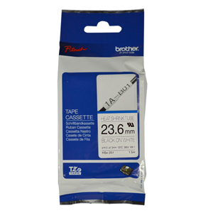 Brother P-Touch HSE-251 24mm Black on White Heat Shrink Tube Label Tape
