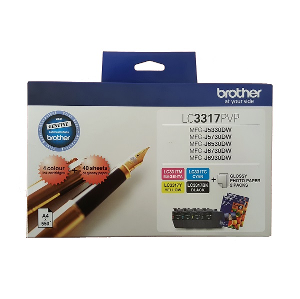 Brother LC3317PVP Ink Cartridge Value Pack - Black, Cyan, Magenta & Yellow + 40 Sheets of 4x6 Photo Paper!