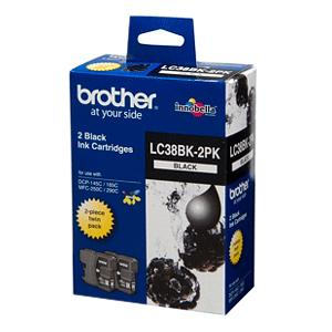 Brother LC38BK2PK Black Ink Cartridge - Twin Pack