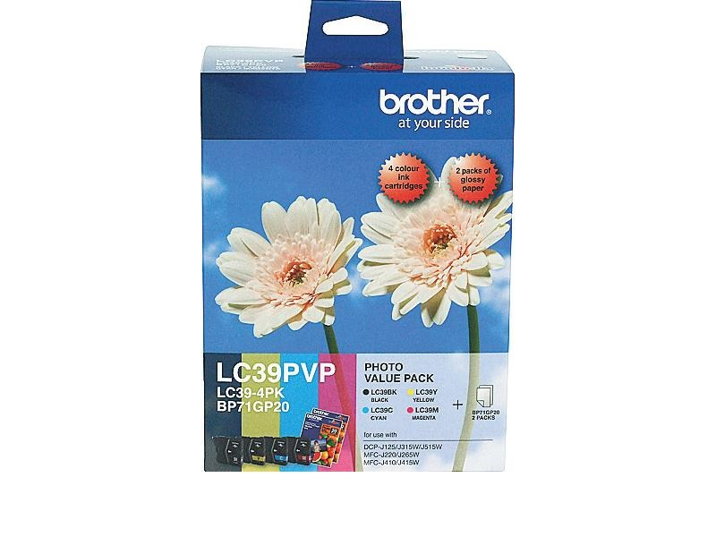 Brother LC39PVP Photo Value Pack - Black, Cyan, Magenta & Yellow + 40 Sheets of 4x6 Photo Paper!