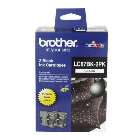 Brother LC67HYBK Black High Yield Ink Cartridge - Twin Pack