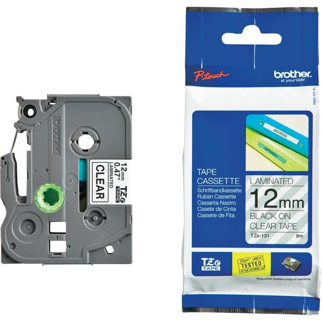 Brother P-Touch TZE-131 12mm Black on Clear Laminated Label Tape