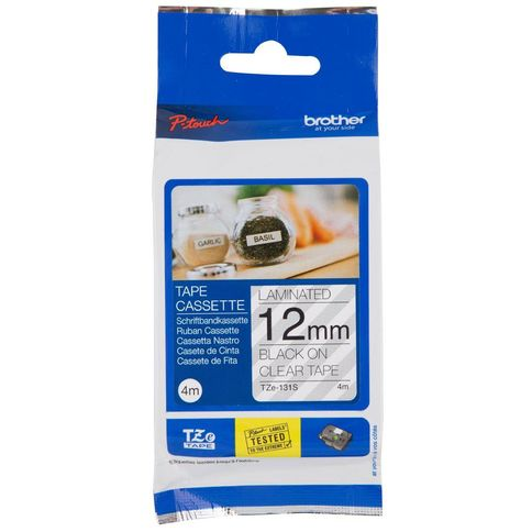 Brother TZE-131S 12mm Black on Clear Laminated Label Tape