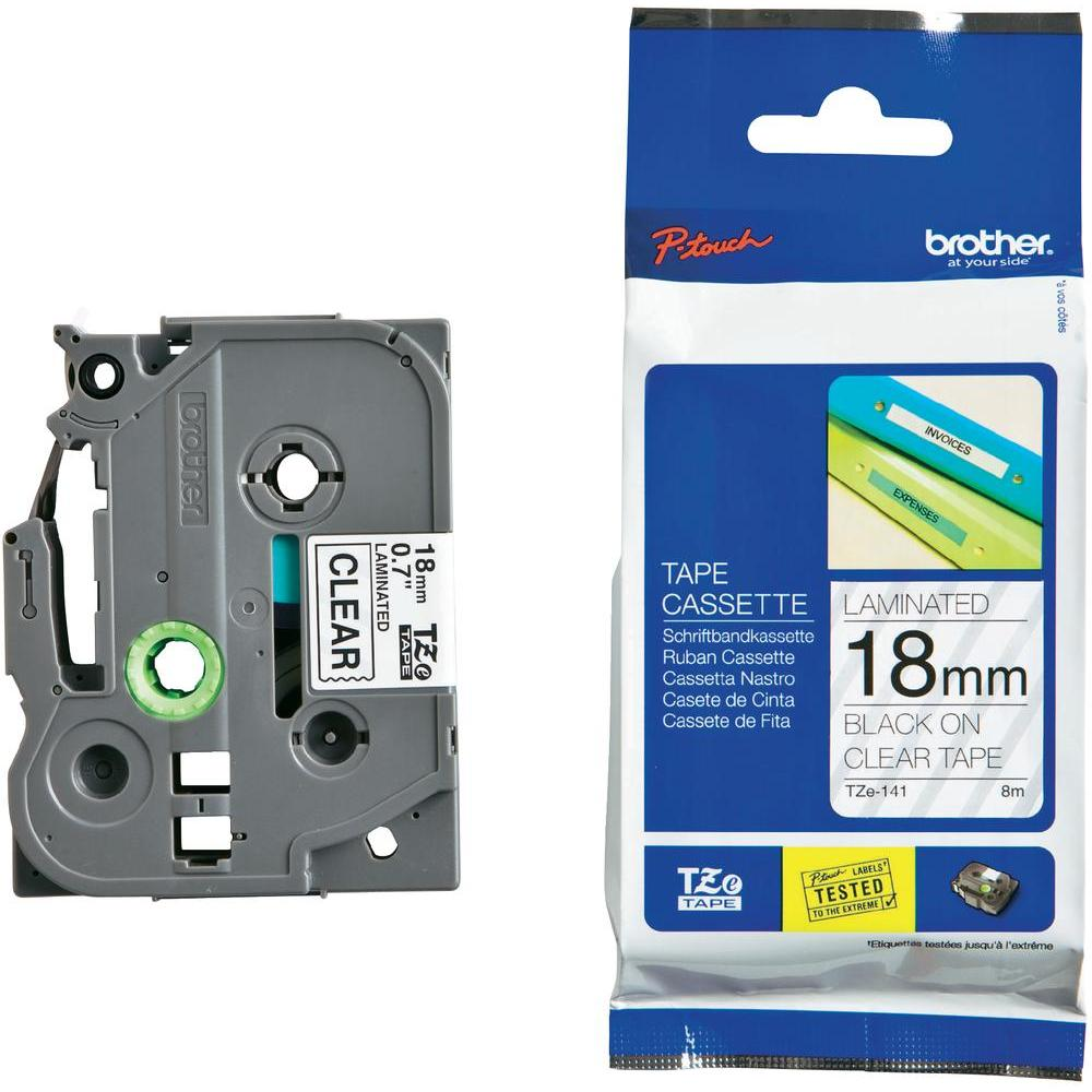 Brother P-Touch TZE141 18mm Black on Clear Label Tape