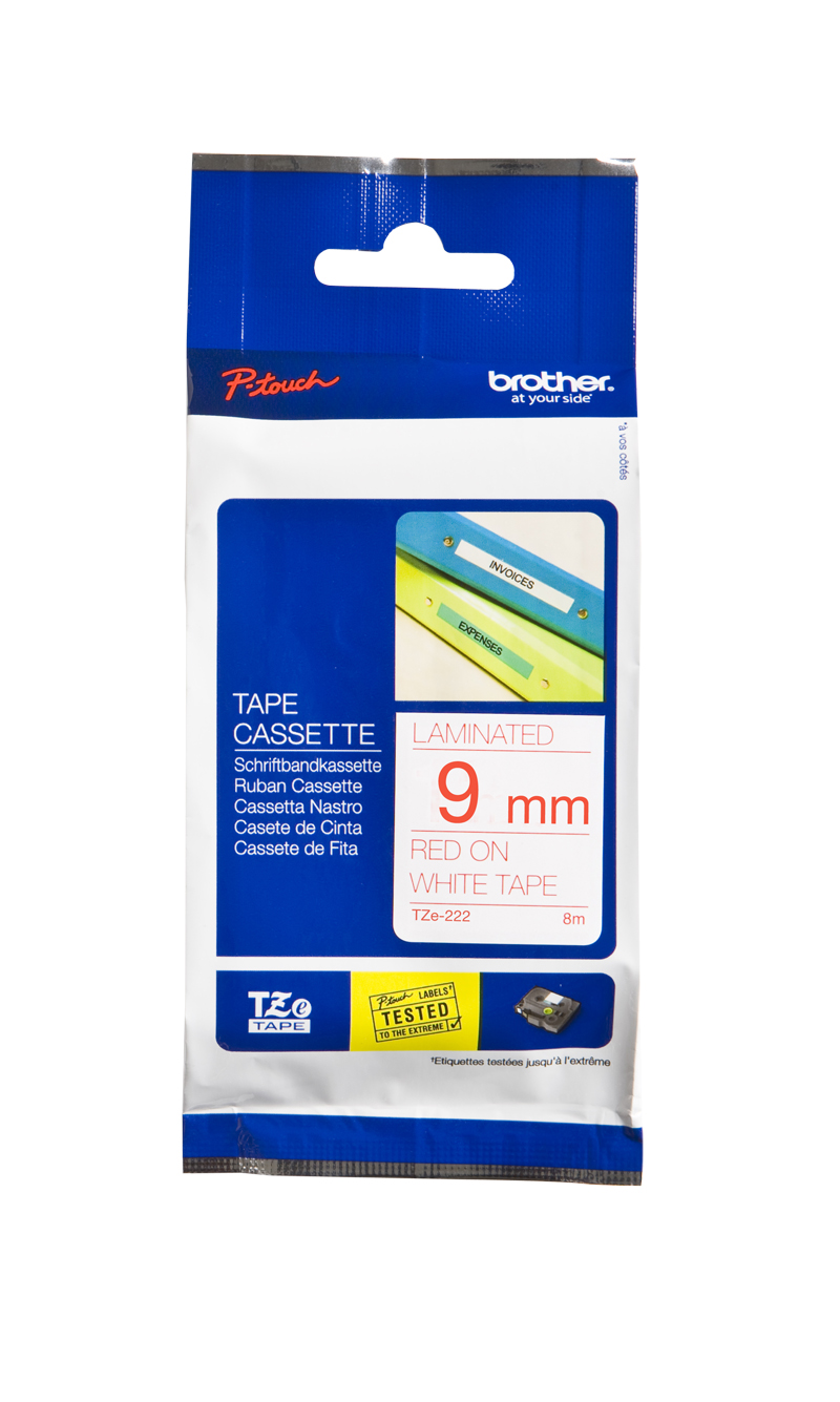 Brother P-Touch TZE-222 9mm Red on White Laminated Label Tape