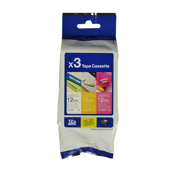 Brother P-Touch TZE-33M3 12mm Laminated Label Tape Multi-Pack - Black on White, White on Satin Gold, White on Berry Pink