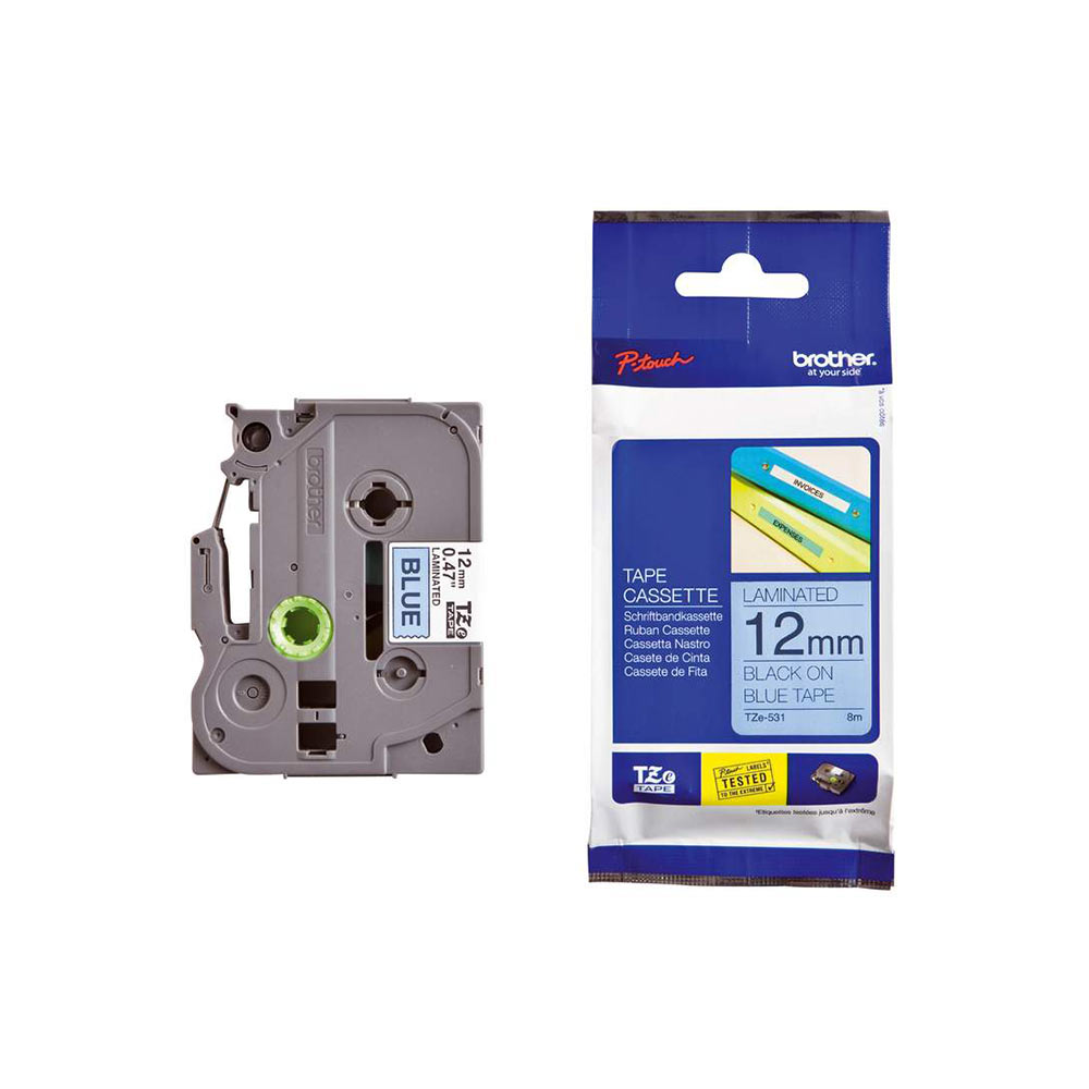 Brother P-Touch TZE-531 12mm Black on Blue Laminated Label Tape