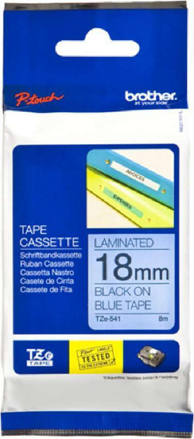 Brother P-Touch TZE541 18mm Black on Blue Label Tape