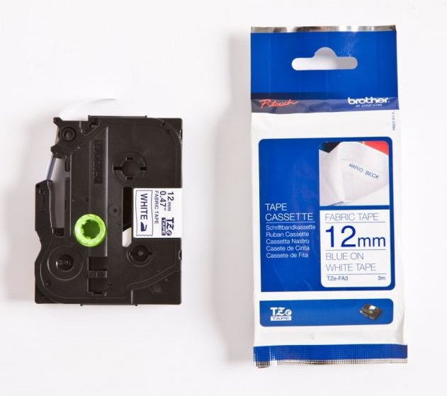 Brother P-Touch TZE-FA3 12mm Blue on White Iron On Fabric Label Tape