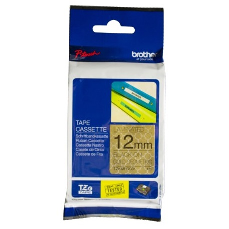 Brother P-Touch TZE-MPGG31 12mm Black on Gold Geometric Laminated Label Tape