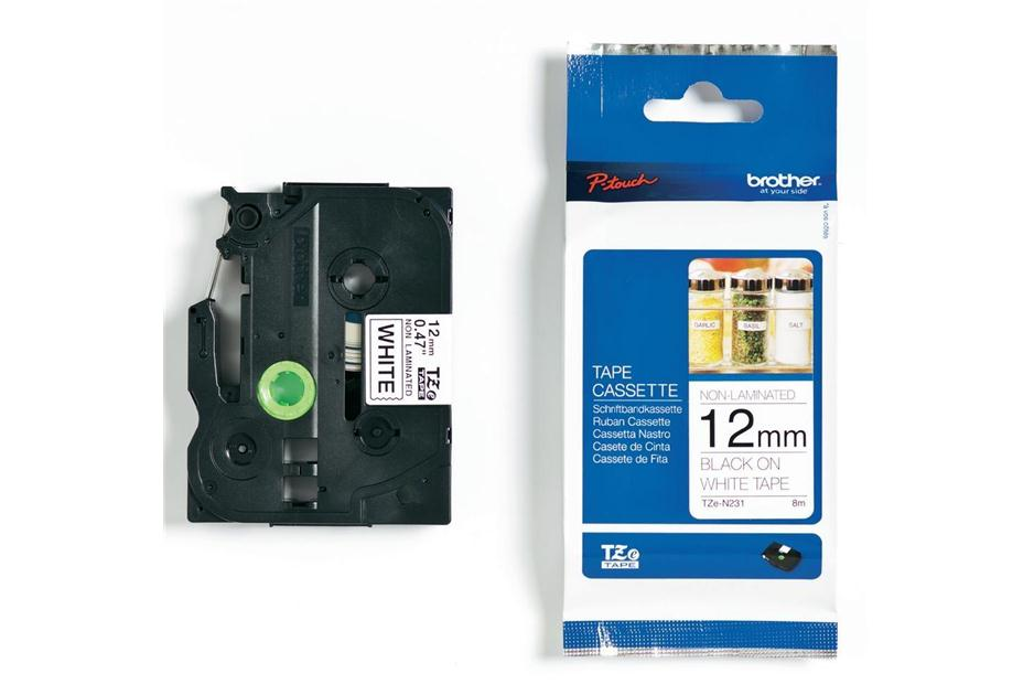 Brother TZE-N231 12mm Black on White Non-Laminated Label Tape