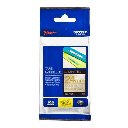 Brother P-Touch TZE-PR254 24mm Gold on White Glitter Premium Laminated Label Tape