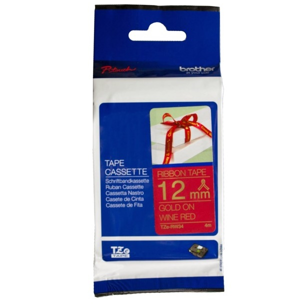 Brother TZE-RW34 12mm Gold on Wine Red Non Laminated Ribbon Label Tape