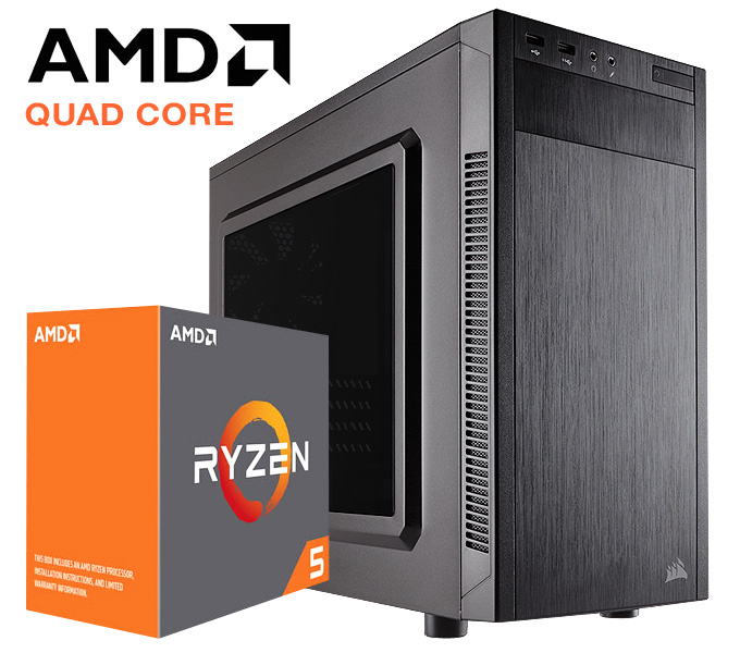 Build My PC Core AMD Ryzen 5 1500X 8GB 240GB SSD Home & Office System