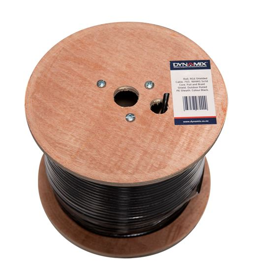 Dynamix 305m Black RG-6 16AWG Shielded Cable Roll - Supplied on a Reel