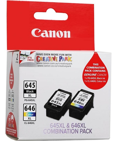 Canon PG645XL Black & CL646XL Colour High Yield Ink Cartridge Pack