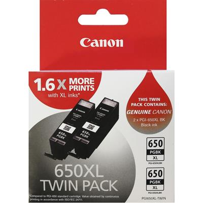 Canon PGI-650XL Pigment Black High Yield Ink Cartridge - Twin Pack