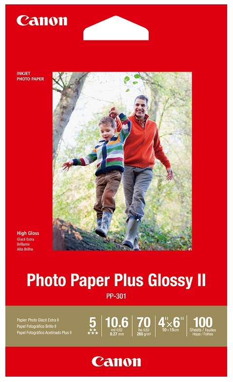 Canon PP-301 4x6 Glossy 102x152mm 265gsm Photo Paper Plus II - 100 Sheets