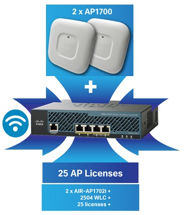 Cisco Mobility Express Bundle - 2X AIR-AP1702i Access Points + 2504 WLC + 25 AP Licenses