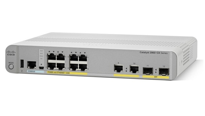 Cisco Catalyst 2960CX-8PC-L Layer 3 10/100/1000Base-T 8 Port PoE+ Managed Switch + 2 SFP