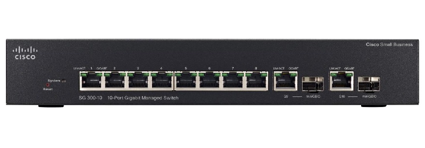 Cisco SG300-10PP 10 Ports Manageable Layer 3 8 x POE+ 2 x RJ-45 Switch