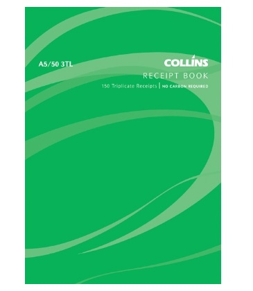 Collins A5 3 Per Page Receipt Triplicate NCR Book - 50 Leaf