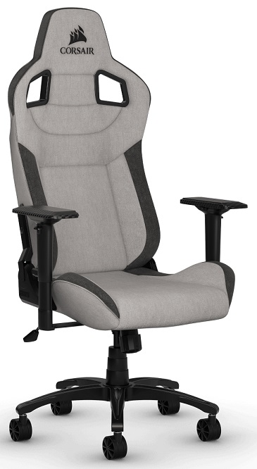 Corsair T3 RUSH Fabric Gaming Chair with Adjustable Arm Rests - Gray/Charcoal