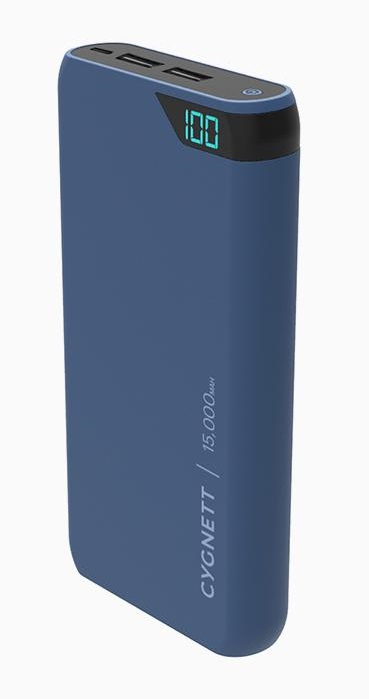 Cygnett ChargeUp Boost 15000mAh Dual Port USB Portable Power Bank - Navy