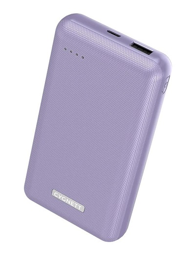 Cygnett ChargeUp Reserve 20000mAh Dual Port USB-A & USB-C Powerbank with 18W Fast Charging - Lilac Purple