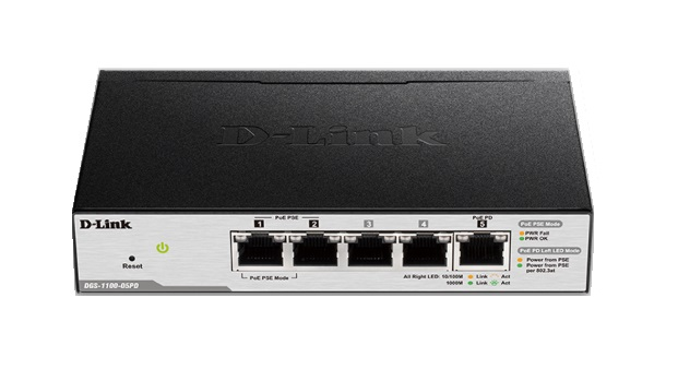 D-Link DGS-1100 5-Port Managed PoE Powered Gigabit Switch