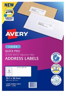 Avery L7163 White Laser 99.1 x 38.1mm Permanent Quick Peel Address Labels with Sure Feed - 280 Pack