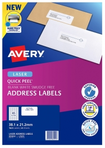 Avery L7651 White Laser 38.1 x 21.2 mm Permanent Quick Peel Address Labels with Sure Feed - 1625 Pack