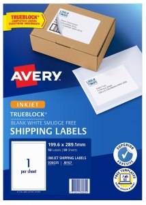 Avery J8167 White Inkjet 199.6 x 289.1mm Permanent Shipping Labels with Trueblock - 50 Pack