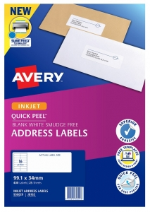 Avery J8162 White Inkjet 99.1 x 34mm Permanent Quick Peel Address Labels with Sure Feed – 400 Pack