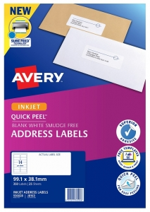 Avery J8163 White Inkjet 99.1 x 38.1mm Permanent Quick Peel Address Labels with Sure Feed – 350 Pack