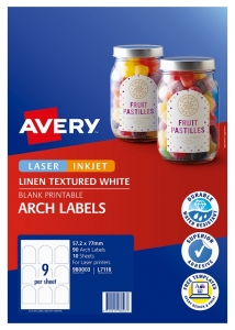 Avery L7118 Textured White Laser 57.2 x 77 mm Arched Permanent Labels - 90 Pack