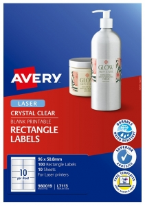 Avery L7113 Crystal Clear Laser 96 x 50.8mm Permanent Product Labels - 100 Pack