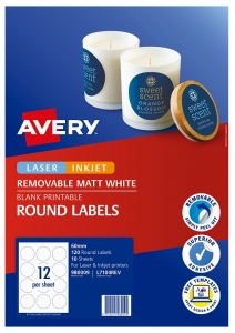 Avery L7104REV Matte White Laser Inkjet 60mm Round Removable Product Labels - 120 Pack