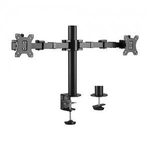 Brateck Articulating Steel Dual Monitor Desk Mount Bracket for 13-32 Inch Flat Panel TVs or Monitors - Up to 9kg