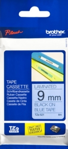 Brother P-Touch TZE-521 9mm Black on Blue Laminated Label Tape