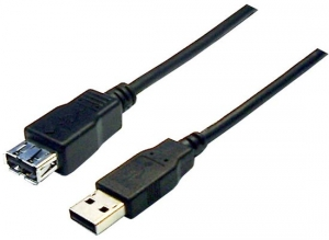 Dynamix 1m USB 2.0 Type A Male to Type A Female Extension Cable - Black