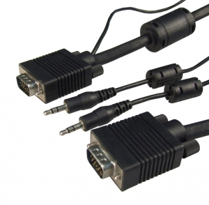 Dynamix 2M VGA Male/Male Cable with 3.5mm Male/Male Audio Lead BLACK Colour Coaxial Shielded