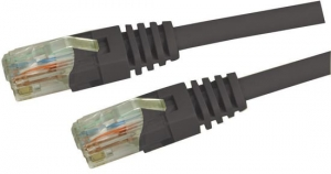 Dynamix 1M Black Cat 5 Enhanced UTP Patch Lead (T568A Specification) 350MHz Slimline Molding & Latch Down Plug
